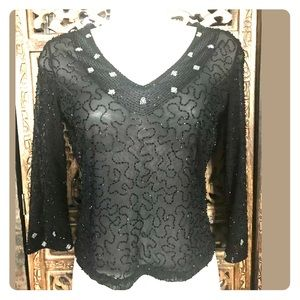 rocco barocco Jeans Sheer 3/4 Sleeve TOP Size 4